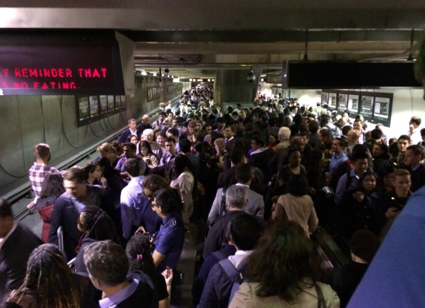embarcadero bart station crowded after medical emergency at montgomery station