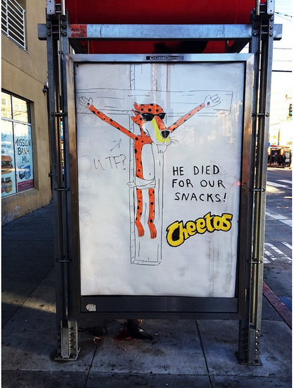 Muni rider has the most appropriate response to Cheetos parody ad