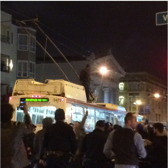 When Do Warriors Move To San Francisco: Warriors Fan Celebrates On Top Of Moving Muni Bus