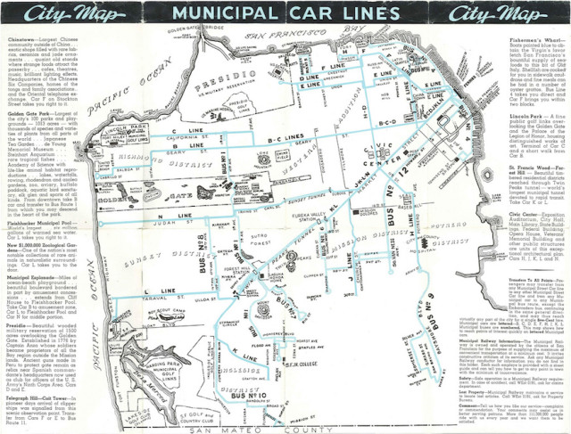 Check out the bad \'ol days from this 1940s Muni Map